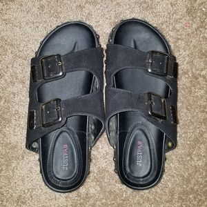Justfab black sandals size 7